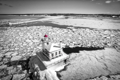 Oswego Lighthouse View 1 Black & White w/color
