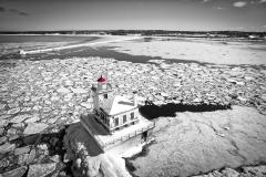 Oswego Lighthouse View 1 Black & White w/color