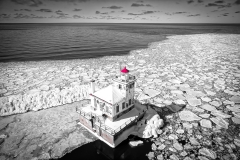 Oswego Lighthouse View 2 Black & White w/color