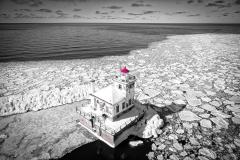 Oswego Lighthouse View 2 Black & White w/color